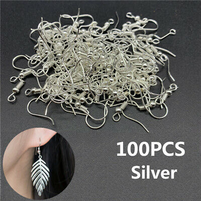 Wholesale Silver Plated Earring Hook Coil Ear Wire Jewelry Findings 100Pcs 19mm