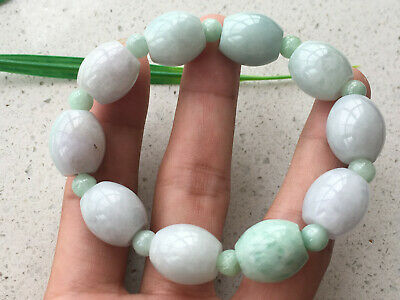 Certified natural A grade fine14mm huge Meter shape Jadeite Elastic Bracelet 194