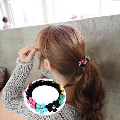 Sweet Colorful Flowers Ponytail Hair Bands Holder Hair Rubber Band Rope Elastic