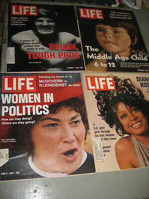 Lot Of 4 Life Magazine 1972 Diana Ross Women In Politics & More!!