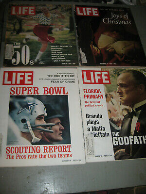 Lot Of 4 Life Magazine From 1972 The Godfather Superbowl The 50S