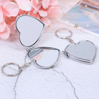 Nww Metal Folding Mirror Key Ring Keychain Portable Compact  Cosmetic..