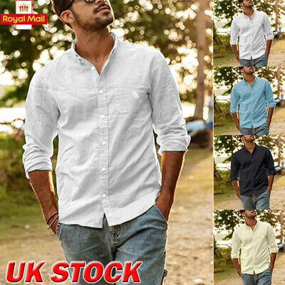 Mens Cotton Long Sleeve Summer Solid Shirts Casual Loose Dress Soft Tops Tee UK