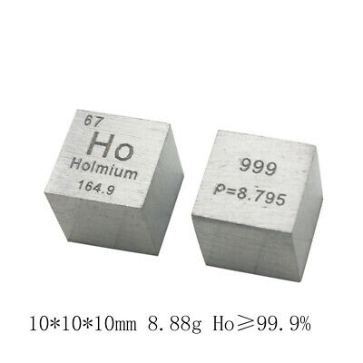 99.9% Pure Ho Holmium Metal Carved Element Periodic Table 10*10*10mm Cube 8.88g