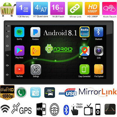 7'' Android 8.1 Double DIN Quad Core GPS Bluetooth Car Stereo MP5 Player FM WiFi