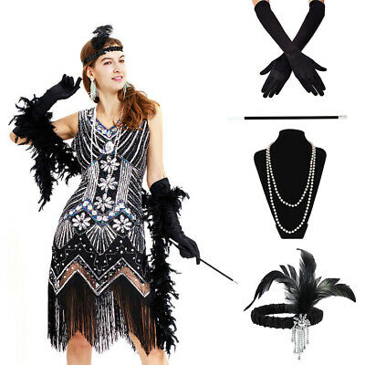 Ladies Gatsby Fancy Dress Flapper 1920s Roaring 20s Charleston Girl Accessories