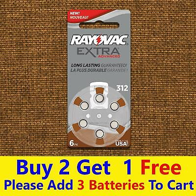 Rayovac Hearing Aid Batteries 312 Extra Advanced Genuine Rayovac Battery 6pcs