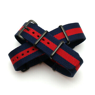 Blue / Red Stripe Nato Strap: Pepsi: Black PVD Buckle / Keepers : 20mm (FL221)