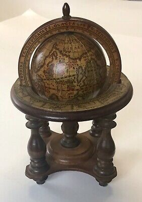 Vintage Wood Old World Globe Italy Astrology Zodiak With Stand Tabletop Desk