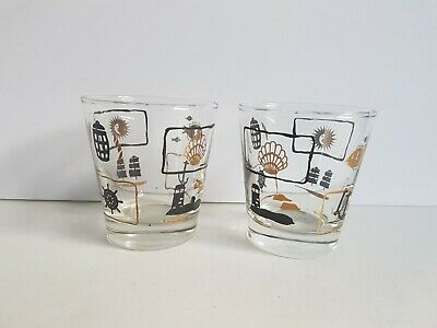 Nautical Tumbler Glass Drinking Cup Lot Vintage