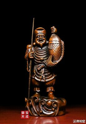 Chinese Old Boxwood wood Carved Fish Old Man Fisherman Fisherfolk people Statue