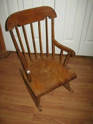Antique  Nichols and Stone Boston Old Pine Child's Rocking Chair