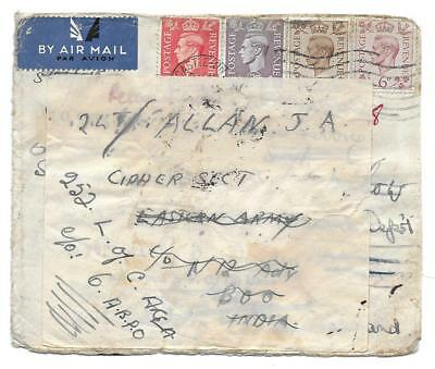 Newcastle on Tyne to Eastern Army Cipher Sect., India 1943, re-faced forwarded,
