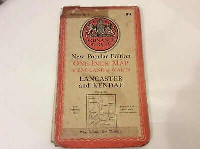 """OS 1""""N Popular Edition map LANCASTER and KENDAL 89 Printed In 1947 On Cloth"""