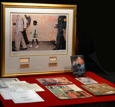 NORMAN ROCKWELL Lithograph, Autograph, Signed ROSA PARKS, Frame, DVD, COA, UACC