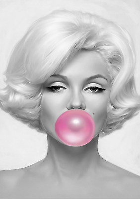 Marilyn Monroe Pink Bubble Gum - 30X20 Inch Framed Hd Canvas