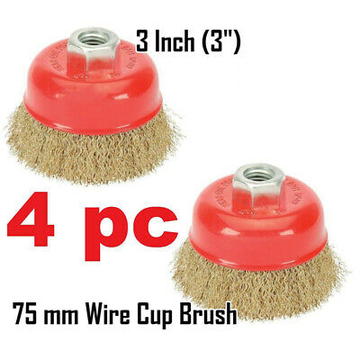 4pcs Angle Grinder Fine Crimped Wire Cup Brushes 75x115mm Abrasive Rust Remover