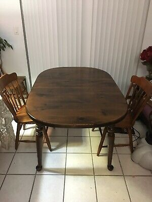 Ethan Allen Vintage Dining Table,2 Inch Solid Antiqued Pine!w/2 Leafs(Not Shown