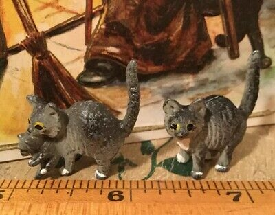 2 Antique Vtg Vienna Bronze Cats Mother Cat Carrying Kitten Grey Tabby Bergmann