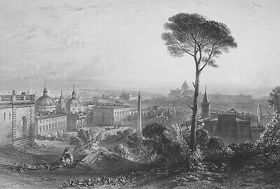 ITALY Rome Piazza del Popolo Pincian Hill - 1858 SUPERB Antique Print Engraving