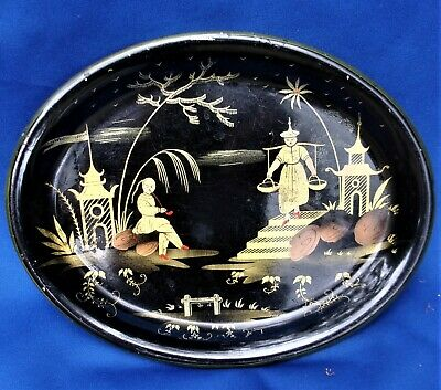 Antique Toleware Chinoiserie Tray .