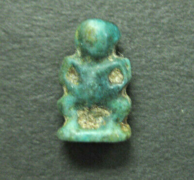 Ancient Egyptian Faience Amulet of Pataikos, Late Dynastic Period, 712-323 BC