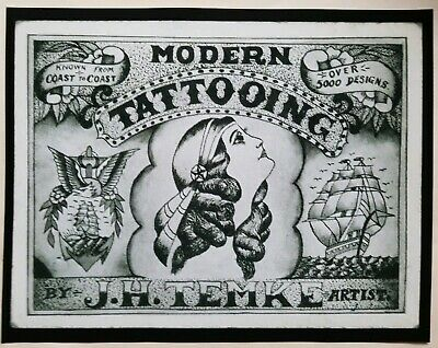 fine art print antique 1910s tattoo business card j.h. temke cincinnati OH