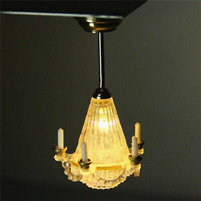 1:12 Dollhouse Miniature Room Chandelier Ceiling Light Lamp 5 Candles Battery /