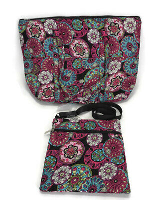 Floral Purse Pink Fabric Travel Bag and Purse 2 Piece Zipper Pockets Cross Body