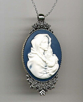 *SALE* Antique Silver Ivory Madonna Child Mother Baby Mary Jesus CAMEO Necklace