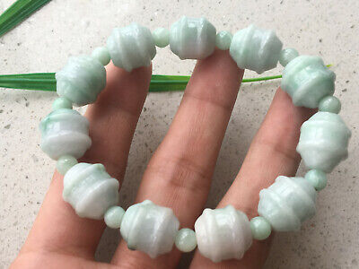 Certified Natural A Grade Exquisite 14mm Light green Jadeite Carving Bracele323