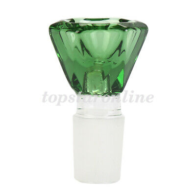 18mm Male Hexagon Glass Bowl Free Screens USA Fast Free Shipping (Green)