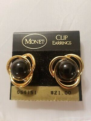 A Vintage  Pair Of  Monet Clip Black Enamel Earrings. New.  Never Used.