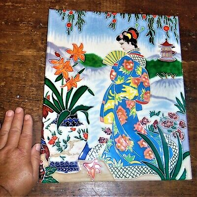 VIntage PORCELAIN Japanese Majolica polychrome Embossed Hand painted tile Geisha