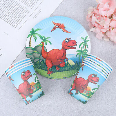 10pcs Dinosaur paper plates disposable paper cups dishes birthday party decor
