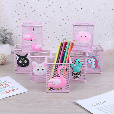 1pc Metal Pen Holder Office Organizer Square Pencil Pen Stand Holders Storage