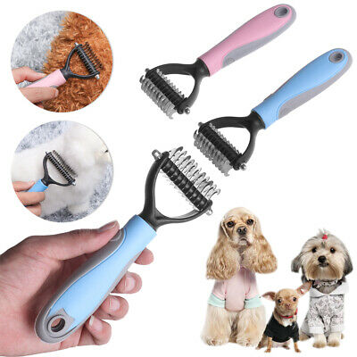 Double-sided  Dog Groomer Cat Rake Brush Fur Knot Cutter  Hair Removal Comb