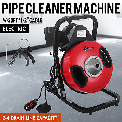 "50 ft 1/2"" Electric SEWER SNAKE Drain Cleaner Auger  w/4 Different Clog Cutters"