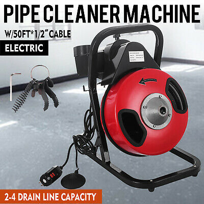 """50 ft Electric SEWER SNAKE drain cleaner auger 1/2"""" w/4 different Clog Cutters"""