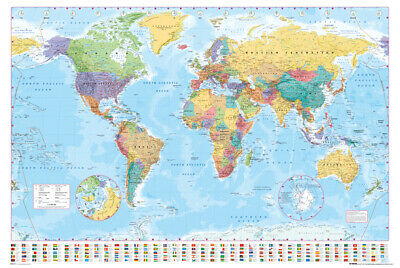 Poster World Map with Flags
