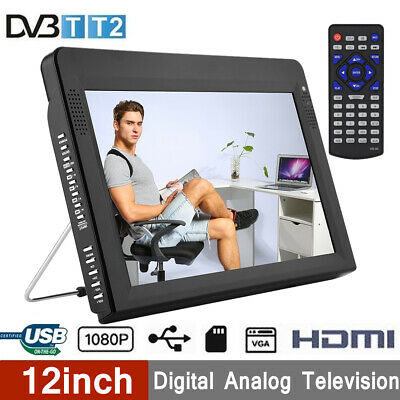 12'' 1080P Freeview HDMI HD Portable Analog Color TV Digital Television Player