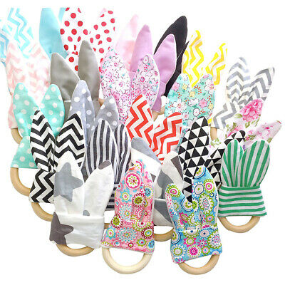 Cute Bunny Ears Cotton Wooden Ring Teething Stroller Toys Pram Rattle Baby Gifts