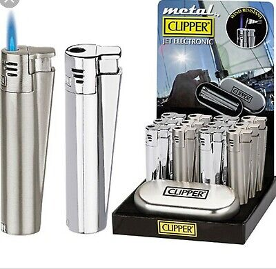 CLIPPER large SILVER Metal JET FLAME nuovo ANTIVENTO