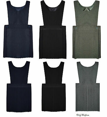 Pleated Bib Pinafore Dress Ages 2-16 Girls School Uniform Black Grey Navy Green