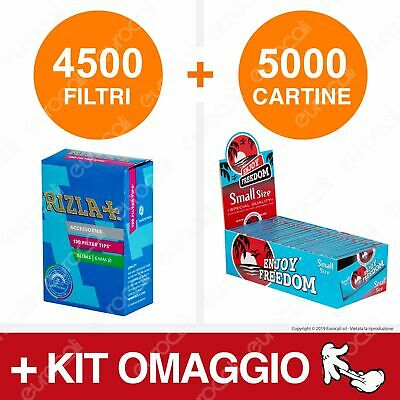 4500 Filtri Rizla Slim 6mm 5000 Cartine Enjoy Freedom Blue Corte Box Kit Omaggio