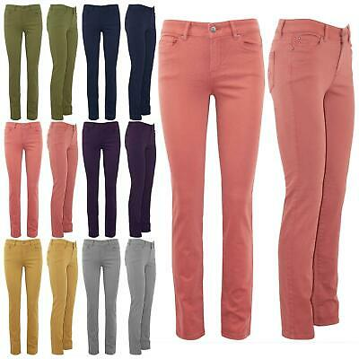 Ladies Skinny Slim Faded Denim Full Ankle Length Womens Stretchy Jeans Trousers