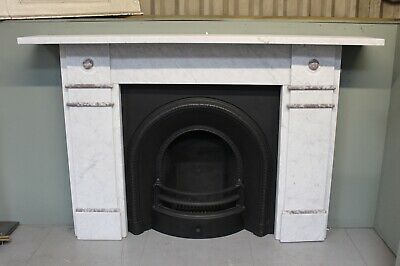 Original Antique Victorian carrara and rouge marble fire surround fireplace