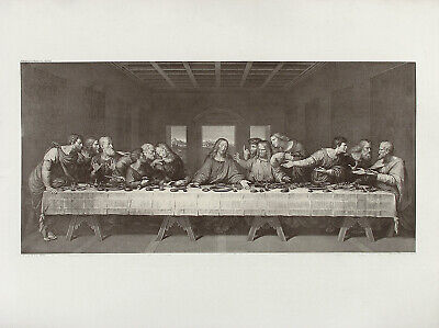 aft DA VINCI & FOLO Antq&XRare 19thC c1880-95 Restrike Engraving THE LAST SUPPER