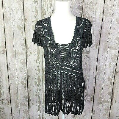 M&S Womens Grey Silver Sparkly Crochet Short Sleeve Top Size 16