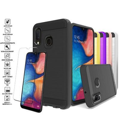 Samsung Galaxy A10E/A20E Shockproof Metal Brushed Hybrid Case + Screen Protector